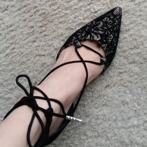 Brand New Sam & Libby Lace Up Black Pointed Heels